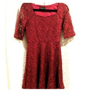 BCX Red Lacey flare dress